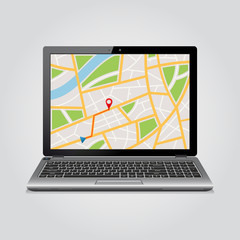 GPS map on display of modern notebook