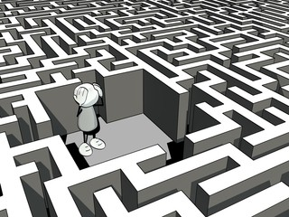 little sketchy man lost in a maze