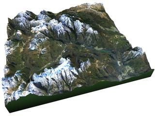 Vista satellitare delle Dolomiti, Alpi Italia
