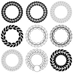 Set   laurel wreath on the white background. Vector illustration