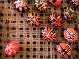 Easter eggs with folk ornament