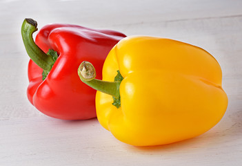 Fresh peppers on wooden