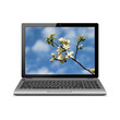 Modern laptop with apple blossoms wallpaper