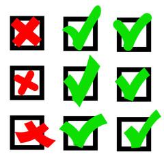 Set  check marks or ticks in boxes conceptual. Vector illustrati