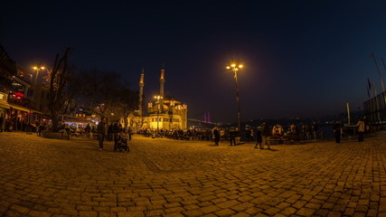 time lapse photography, people walking Ortakoy square