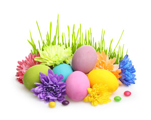 Easter colorful eggs with flowers