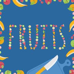 Frutas cortadas formando la palabra fruta