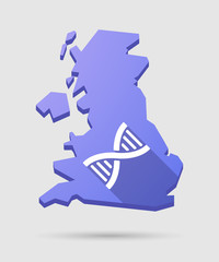 UK map icon with a DNA sign