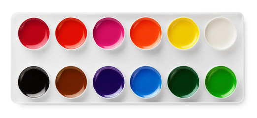 Top view of watercolor paints in box isolated on white
