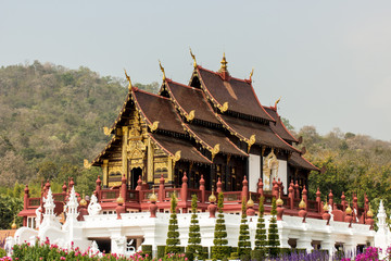 Traditional thai architecture in the Lanna style , Royal Pavilio