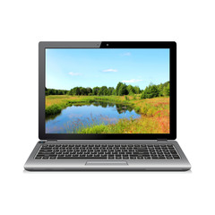 Modern laptop with landscape wallpaper