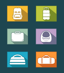 colorful icons set with bags