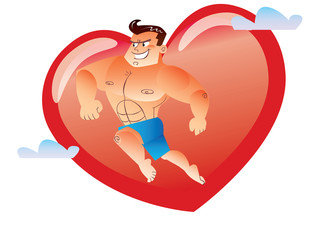 Macho bare-chested on the background red heart