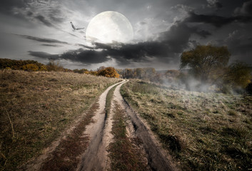 Countryside and moon