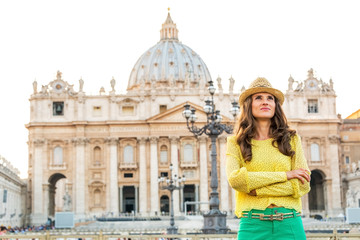 Portrait of young woman on piazza san pietro in vatican city