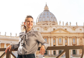 Portrait of happy young woman in Vatican city