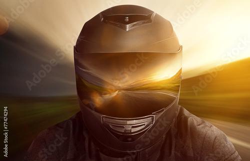 Leinwanddruck Bild Motorbike Helmet