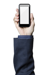 Hand holding smart phone with a white screen