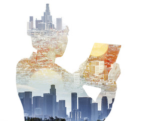 Woman with digital tablet composited with images of Los Angeles
