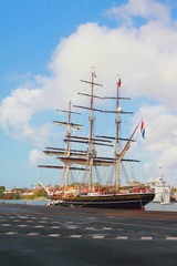 Three-mast sailing vessel in port. Fort-de-Frans, Martinique