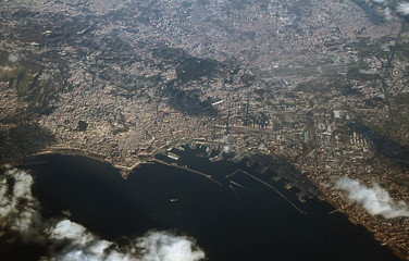 View of bay and city from above. Naples, Italy