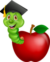 Worm wearing a raduation cap crawling out of an apple