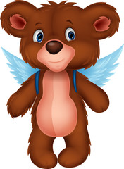 Cartoon baby bear with wings
