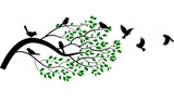 Fototapety Illustration of tree branch with bird silhouette