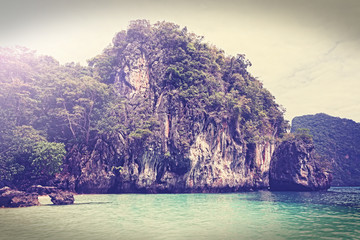 Vintage filtered picture of island, Andaman sea Thailand.