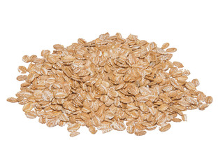 pile of wheat flakes isolated on white background