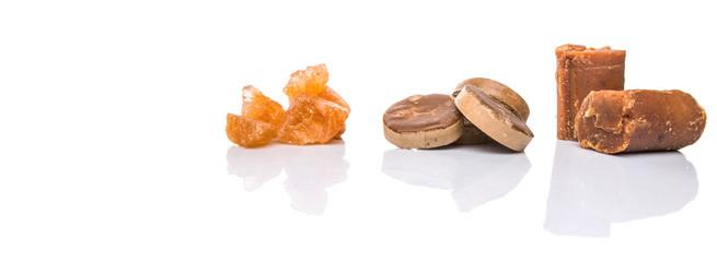 Palm sugar, coconut sugar and sugar cane rock