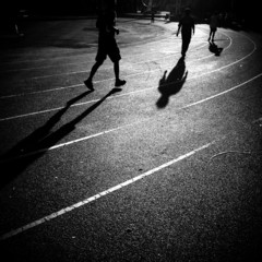 silhouette people jogging and walking