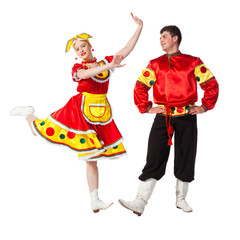 Russian folk dance, isolated on white