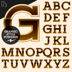Brown alphabet with golden border. Slab 1