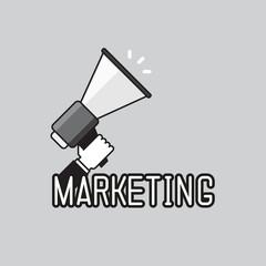 Hand holding a megaphone, promotion marketing concept