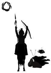 buffalo hunt in silhouette