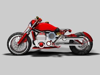 Moto custom rossa