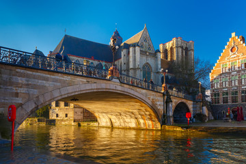 St. Michael Bridge and church at sunrise in Ghent, Belgium