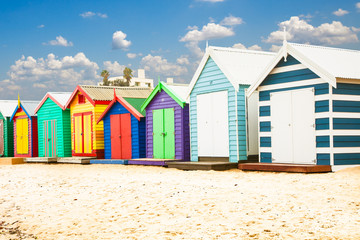 Bathing houses on Brighton beach in Melbourne, Australia.
