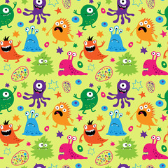 Bright seamless pattern with aliens