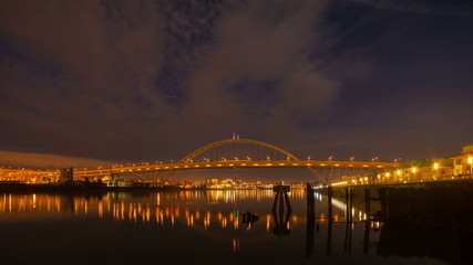 Time Lapse of Clouds and Traffic Over Fremont Bridge Portland OR
