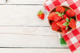 Fresh ripe strawberry in bowl