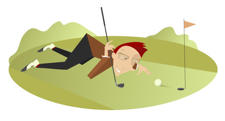 Smiling golfer is aiming to the hole