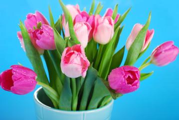 bunch of pink tulips in vase