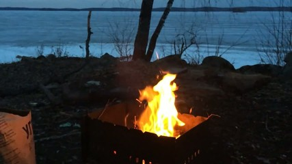 Fire on the barbecue