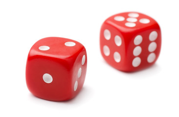 Pair of red plastic dice