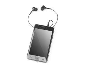 Portable multimedia player - isolated white background