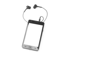 Portable multimedia player with blank dislplay - isolated