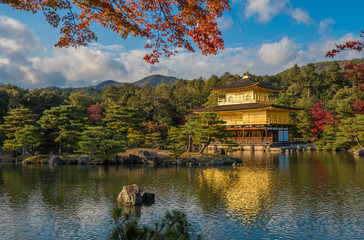 Kinkaku-ji buddhist temple Golden pavilion, Kyoto, Japan
