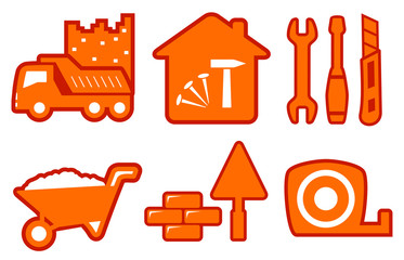 industrial set with construction icons